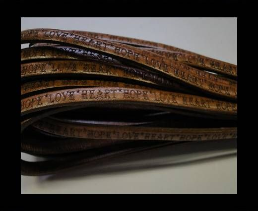 Real Flat Leather-5MM-Hope Love Heart style-Brown-Natural
