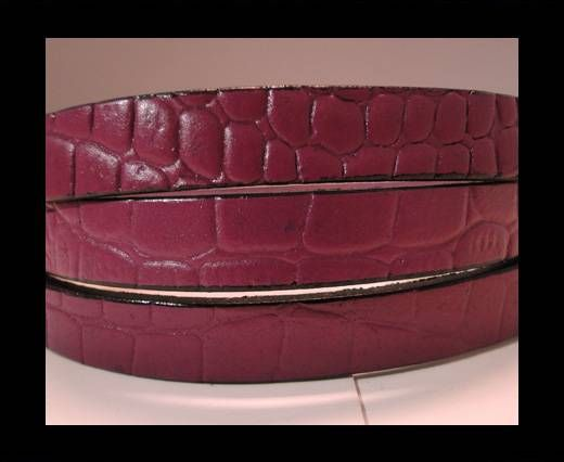 Real Leather Croco Print - Dark Fuchsia-10mm