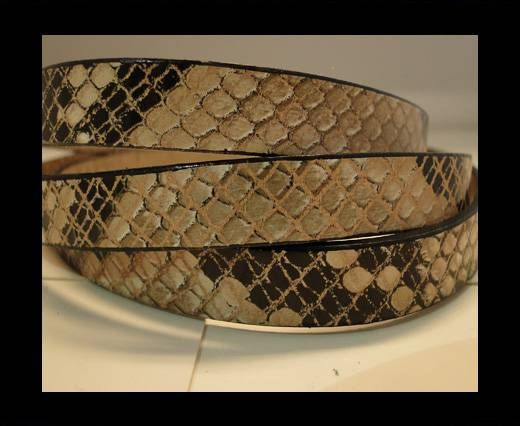 Real Leather Snake Style - Natural with Black Dots-10mm