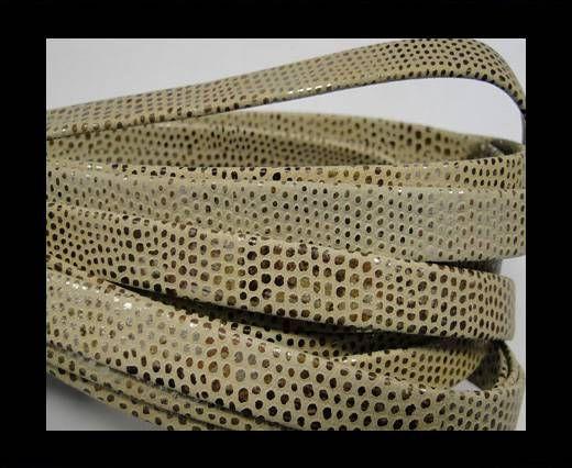 Nappaleder, Flach, 10mm - Schlangenstil Vanillegold