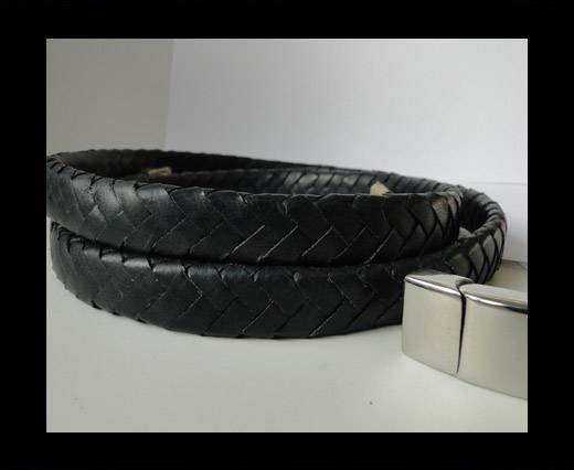 Real Nappa Flat Woven Cords - 15 mm - Black