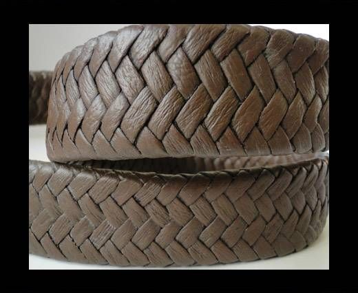 Real Nappa Flat Woven Cords - Dark Brown - 25mm