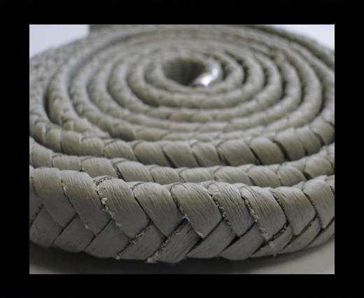 Real Nappa Flat Woven Cords - 15 mm - Light grey