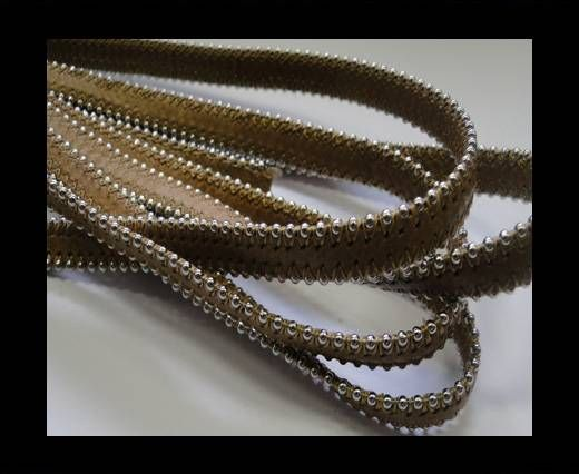 Real Nappa Flat Leather with steel balls chains-10mm-Medium Brow
