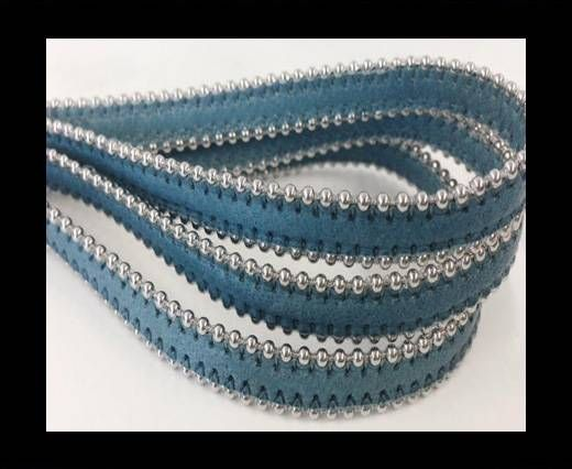 Real Nappa Flat Leather with steel balls chains-10mm-Turquoise