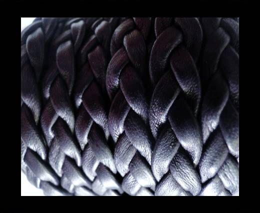 Echtes Nappaleder, flach geflochten, 10mm – Dark Purple