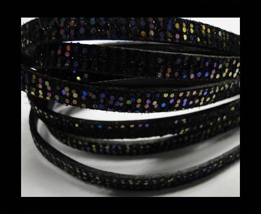 Real Nappa Leather - BLACK MULTICOLOR -Glitter Style -5mm