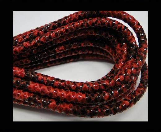 Real Nappa Leather cords Round-Snake Skin Red python-6mm