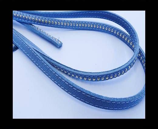 Real Nappa leather with gold plated ball chains-6mm-Light Blue