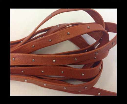 Real Nappa Leather with studs - 10mm - Orange