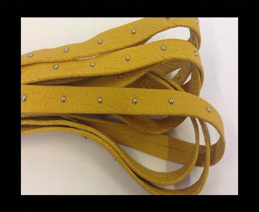 Real Nappa Leather with studs - 10mm - Pastel Yellow