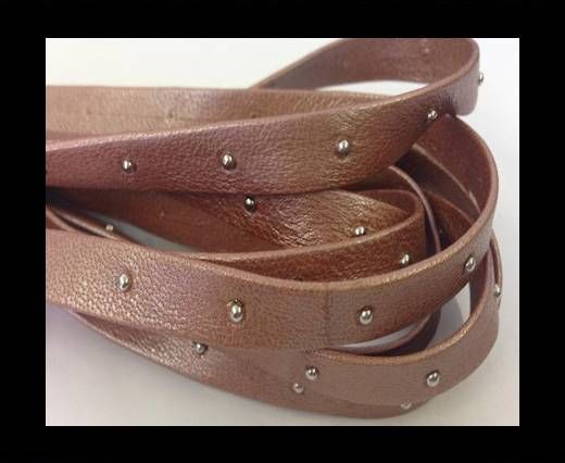 Real Nappa Leather with studs-5mm-rose gold