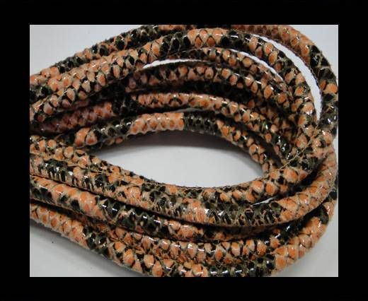 Real Nappa Leather Cords Round-Snake Skin Rose Pyton-6mm