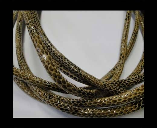 Real Nappa Leather Cords Round-Snake Skin brown-6mm