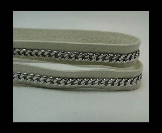 Real Nappa Leather Chain Stitched-10mm-Single-Beige