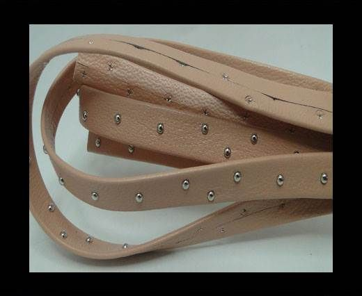 Real Nappa Leather with studs - 10mm - Pastel Pink