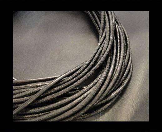 Nappaleder, rund  gesäumt - 6mm - Black