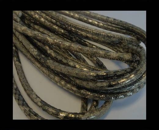 Real Nappa Round-Snake Skin Gold-6mm