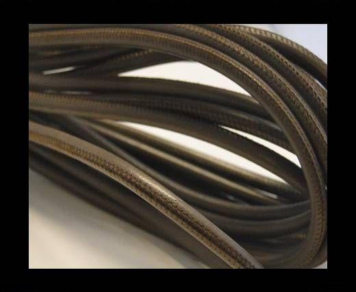 Nappaleder, rund  gesäumt - 6mm - Brown Grey Dark