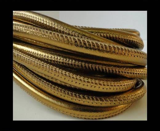 Nappaleder, rund  gesäumt - 6mm - warm gold