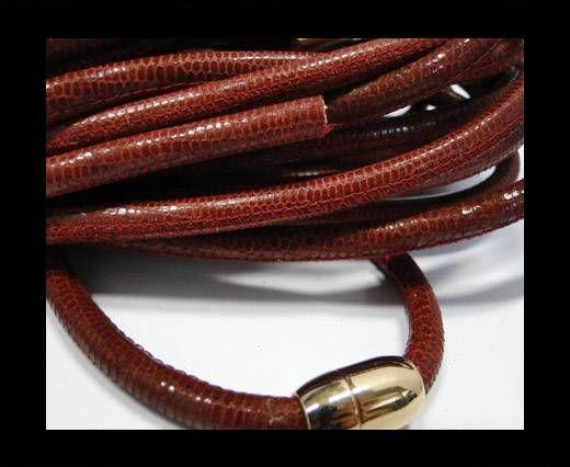 Real Nappa Round-Snake Skin Dark Red-6mm