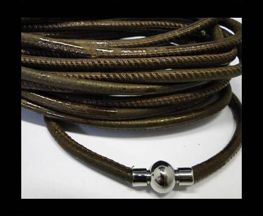 Nappaleder, rund  gesäumt - 6mm - Brown