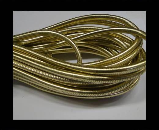 Nappaleder, rund  gesäumt - 6mm - Gold