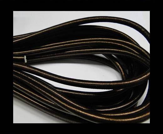 Nappaleder, rund  gesäumt - 6mm - Metallic Bronze