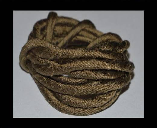 Seidenband mit Baumwollfüllung - 4 mm - Bronze