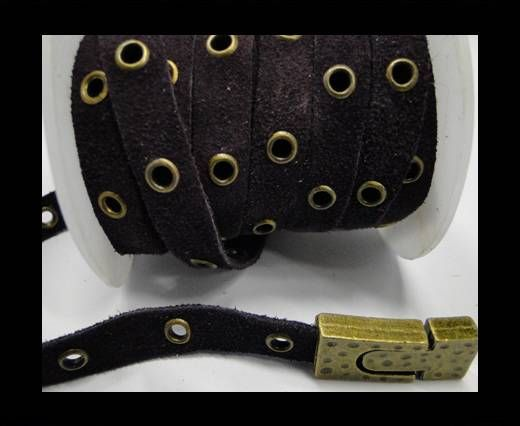 Real Suede Leather with Rivet -Purple -10mm