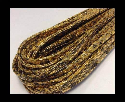 Real Nappa Leather, gesäumt, 5mm – Schlangenstil Gelb