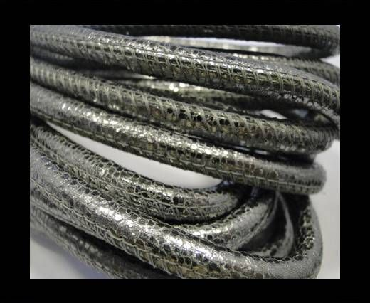 Buy Round stitched nappa leather cord Silver - 6 mm at wholesale price