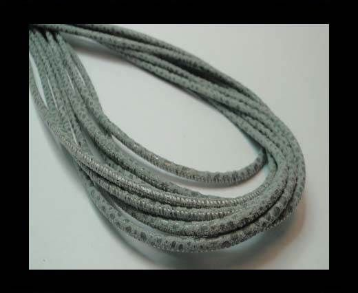 Round stitched nappa leather cord 3mm-RAZA GREY + PAILL. TRANSP