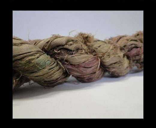 Sari silk ribbons- Cool Olive