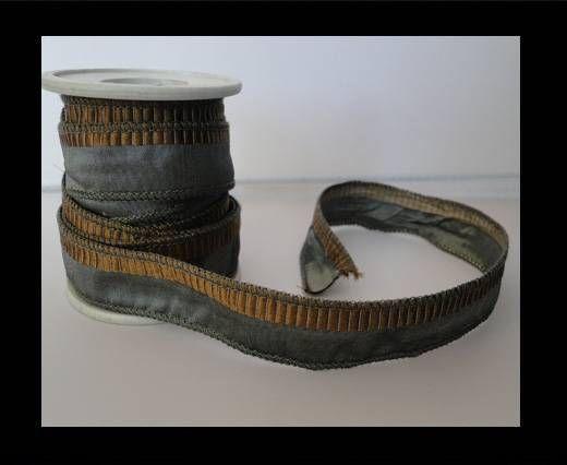 SC-Seidenband-Grau mit braunen Spuren