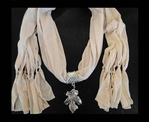 Scarf With Beads Style8-Cream