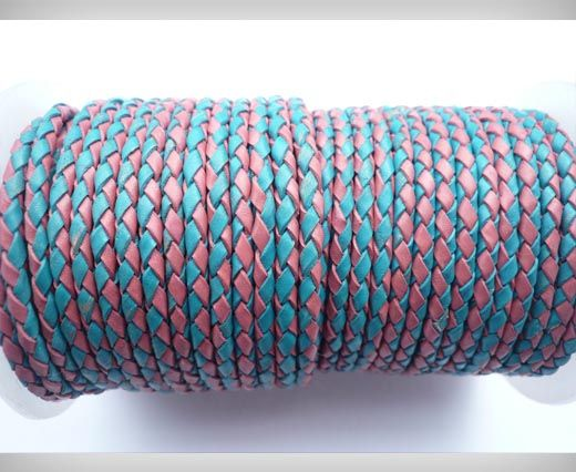 Round Braided Leather Cord SE/B/24-Pink-Blue - 3mm