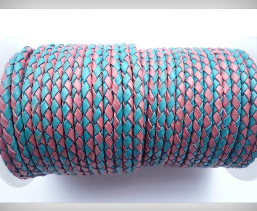 Rundes Leder, geflochten SE/B/24-Pink-Blue - 3mm