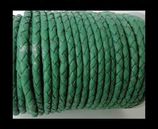 Rundes Leder, geflochten SE/B/523-Moss Green-5mm