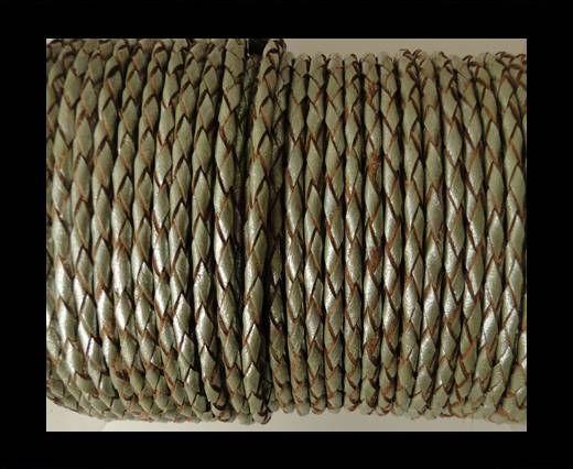 Rundes Leder, geflochten SE/M/10-Metallic Olive Green - 3mm