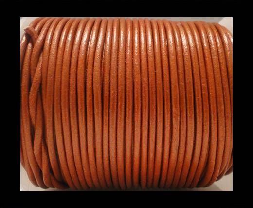Round Leather Cord SE/R/Metallic Orange - 3mm