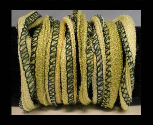 Seiden-Baumwolle-4-Oliv Grün und Creme