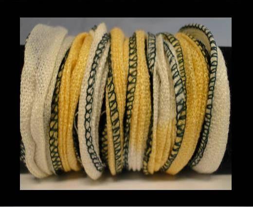 Seiden-Baumwolle-9-Gelb und Weiß