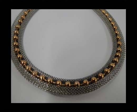 Stainless Steel Chain Item-23-10mm Silver with Rose Gold