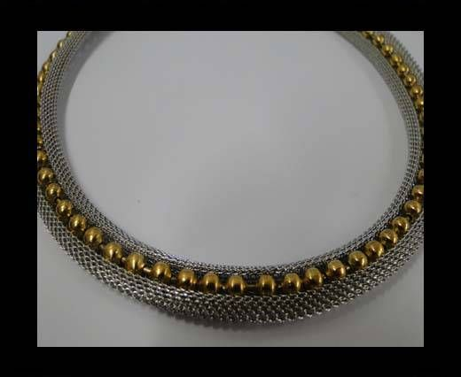 Stainless Steel Chain Item-23-10mm Silver with Gold