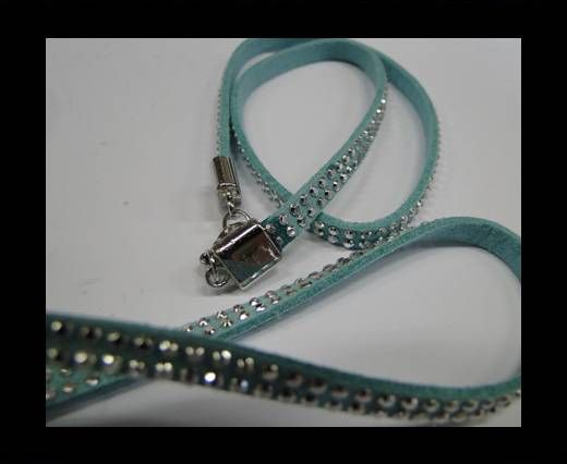 Suede Cord with studs-5mm-Silver-Light Blue