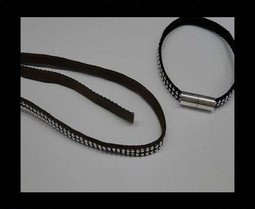 Suede Cord With Silver Studs-5mm-Brown