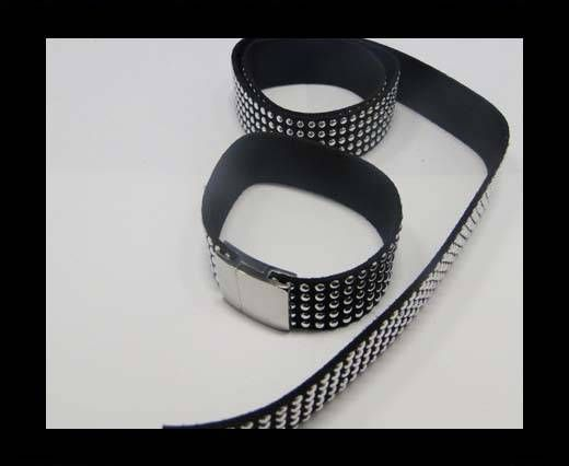 Suede Cord with Studs-20mm-5layers-Black