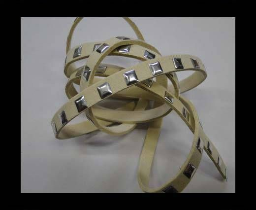 Suede Cord with studs-7mm-Beige