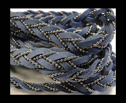 Suede cords with chains-10mm-light blue